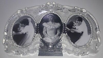 Mikasa Princess Crystal Triple Oval Wedding 8 X 13 Frosted Glass