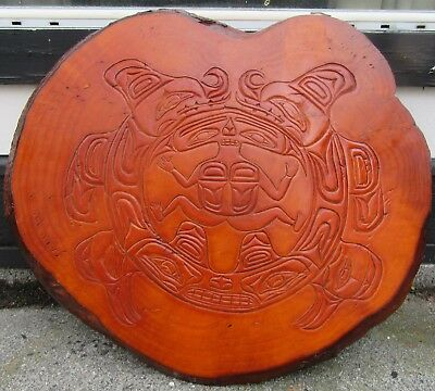 25 inch+ Hand Carved Wooden Plaque by Tsimshian Chief William Jeffrey Circa 1970