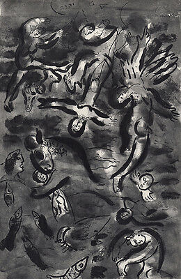 "Religious Marc CHAGALL 1960 Antique Print ""The Duration of the Flood"" FRAMED COA"
