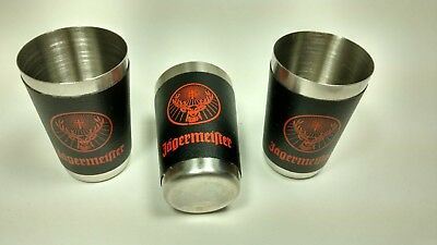 Set Of 3 Jagermeifter Shot Glasses - Stainless Steel With Jager Wrap