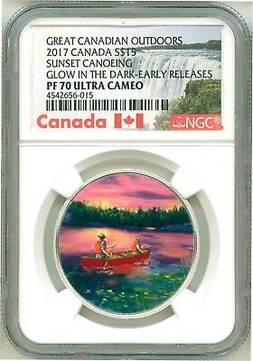 2017 Canada S$15 Canadian Outdoors Sunset Canoeing Glow NGC PF70 UC Box COA OGP