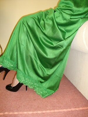 Emerald Green Silky Lacy Long Formal Length Half Slip Petticoat M-L-XL  BNWT