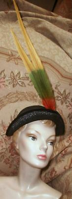 1950s IRENE Tri-Corn Hat w Extra Long Swooping Autumn Hued Feathers New York