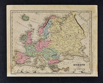 1882 Wells Map Europe Italy Spain France Germany Austria Portugal Sweden Holland