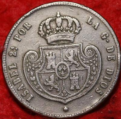1850 Spain 1/2 Real Foreign Coin