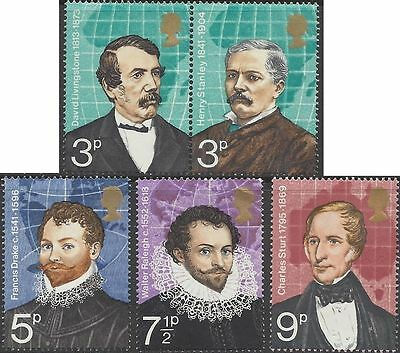 Great Britain 1973 BRITISH EXPLORERS (5) Unhinged Mint SG 923-7