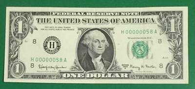 1963A $1 Fancy Serial Number LOW 2 Digit 000000 58! Old US Paper Money Currency