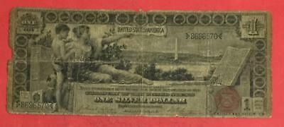 """1896 $1 US Educational SILVER Certificate """"LARGE SIZE"""" Currency Old US Money"""