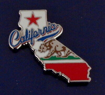 California State Shaped Map Lapel Pin CA STATE FLAG/brown bear