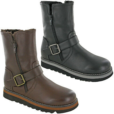 Womens Mid Calf Boots Ladies Fashion Platform Zip Up Warm Lined Shoes UK 3-8