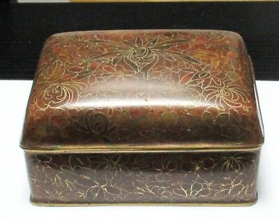 Nice Chinese Cloisonne Amber Enamel Floral Blossom Humidor Jar Box