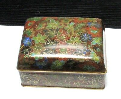 Nice Chinese Cloisonne Amber Enamel Floral Blossom Humidor Jar Box #2