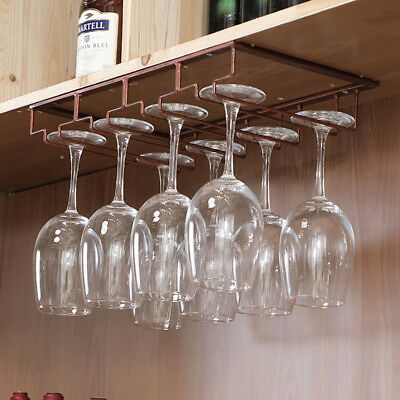 Wine Rack Holder Stainless Steel Hanging Racks Glass Cup Stemware Shelf Mounted