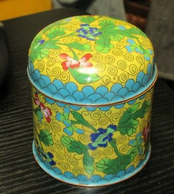 Chinese Floral Cloisonne Yellow Enamel Humidor Canister Jar Box