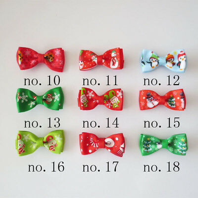"50 BLESSING Good Girl 2"" Double Bowknot Hair Bow Clip Christmas Accessories"