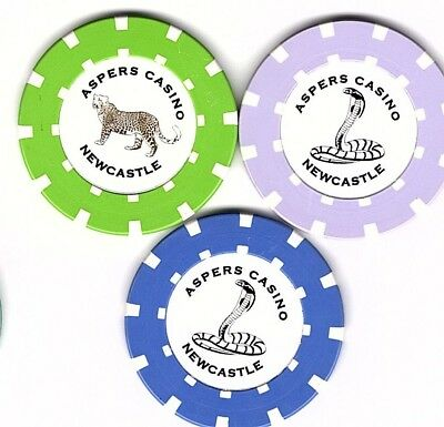 3 different Aspers Casino, Newcastle, England, Roulette Casino Chips