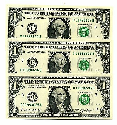 YOU GET 3! $1 PHILADELPHIA 2013 UNCIRCULATED #C/B One Dollar Notes + HOLDER