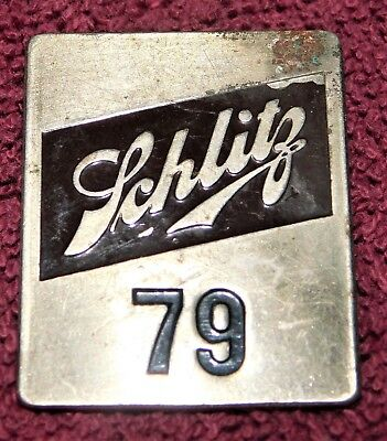 1940s - 1950s SCHLITZ BEER Super Low Number #79 EMPLOYEE Badge PIN (Rare!)