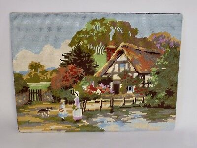 "Vintage Completed Tapestry Needlepoint English Country Cottage 15"" X 11"""