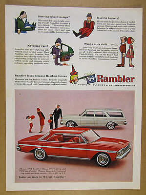 1964 Rambler Classic 770 Hardtop & Cross Country Wagon photo vintage print Ad