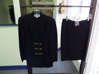 Women's St. John Collection by Marie Gray Wool Blend Black Skirt Suit Size 2