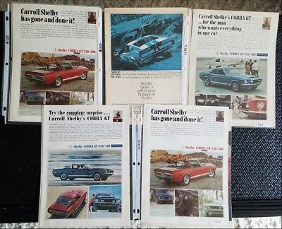 Lot of  10 1968 Mustang & Shelby Ads in plastic loose leaf pages