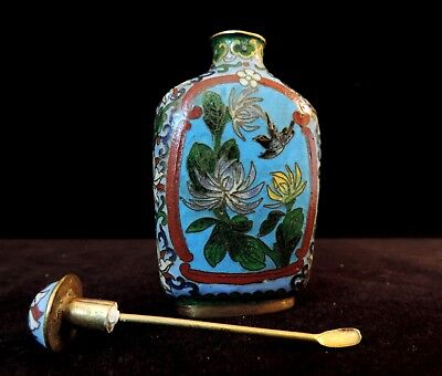 Vintage Chinese Cloisonne Snuff Bottle~ Copper & Enamel~With Spoon