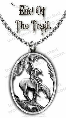 END OF TRAIL NECKLACE for MALE or FEMALE - DIAMOND CUT WESTERN ART GIFT SALE  C