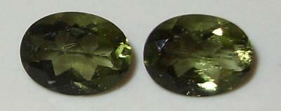 1.97ct Pair Faceted TOP QUALITY Natural Czechoslovakia Moldavite Oval Cut 8x6mm
