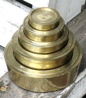 Set of 5 Vintage ANTIQUE BRASS NESTING SCALE WEIGHTS BEEHIVE STACK 4 oz - 4 lbs