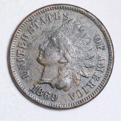 1869 Indian Head Small Cent XF Detail FREE SHIPPING E111 KCM