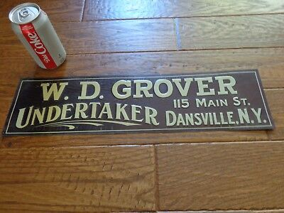Antique 1920's-30's Embossed Tin Sign W.D. Grover Undertaker Dansville NY