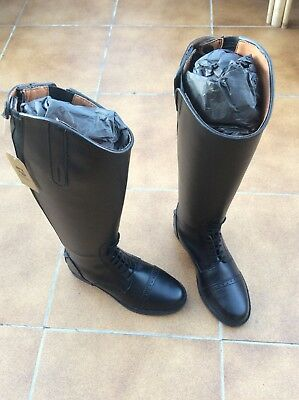 Horse Show Competition Hunting Riding Long Leather Boots Size 37 Uk 4 - New