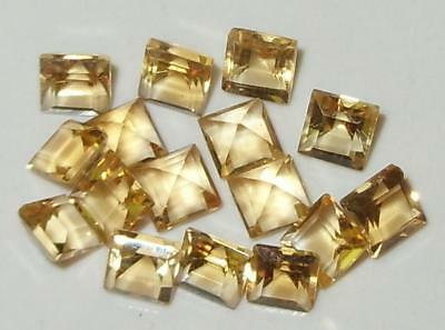 Lot 16pcs 4mm Brazil Yellow Gold Citrine Square Princess Cut 5.78ct SPECIAL