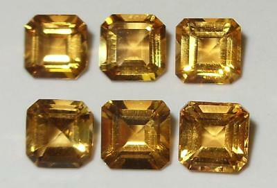 8.28ct Lot 6pcs Beautiful Brazil Bright Gold Citrine Octagon Sq Cut 7mm SPECIAL