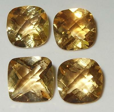 10.67ct Lot 4pcs Brazil Gold Citrine Checker Square Cushion Cut 9mm SPECIAL