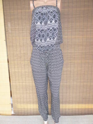 Blinddate Overall Jumpsuit Schwarz Weiss Taupe  M-S 38/36 *neu*  Np:29,99€