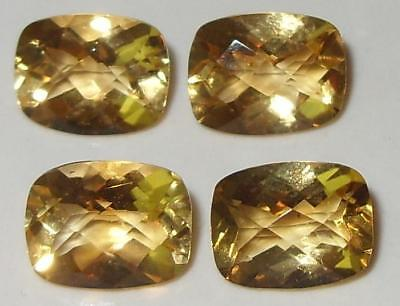 7.46ct Lot 4pcs Brazil Gold Citrine Checker Cushion Cut 9x7mm SPECIAL