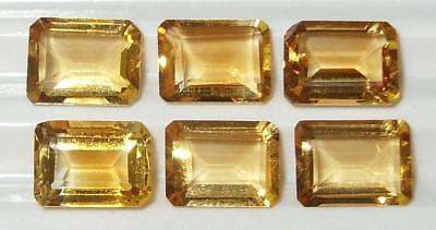 8.18ct Lot 6pcs Brazil Gold Citrine Emerald Cut 8x6mm SPECIAL