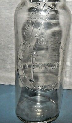 STANDARD Oil Co. EMBOSSED Glass Bottle w FILL TO ARROW,  METAL SPOUT (INDIANA)