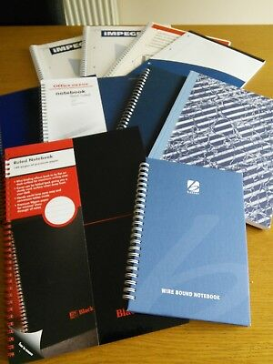 Job lot of 10 Office Ruled Notebooks, hardback/softback A4 & A5. Unused