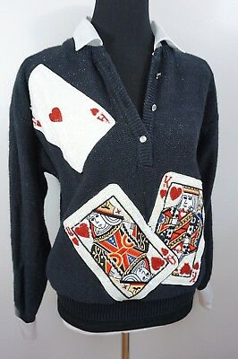 80s 90s ~ Bonnie Boerer ~ Playing Cards / GLITZY Gambling Sweater ~ Poker Vegas