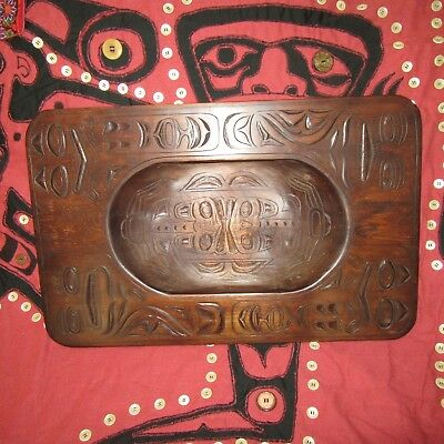 """Impressive Pacific Northwest First Nations Wooden Grease Bowl 22"""" x 14"""" Ca 1970s"""