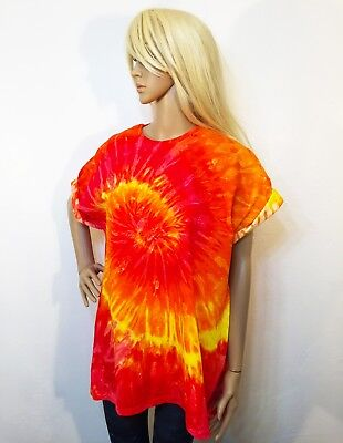 Tie Dye Dress Oversized Tee T Shirt Top Tee  Music Festival Hipster Red Ice
