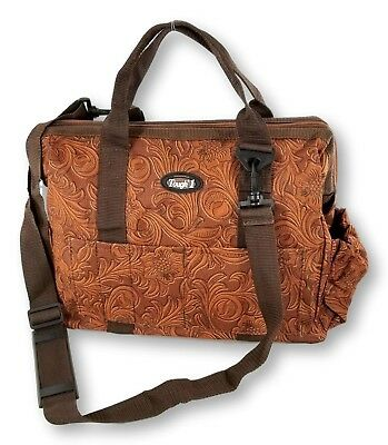 Brown Tooled Leather Fun Print Nylon Show Case Groom Bag Horse Tack