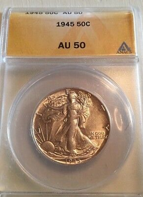 1945-P 50C Walking Liberty Half Dollar Anacs Au-50 Flashy White Surfaces,