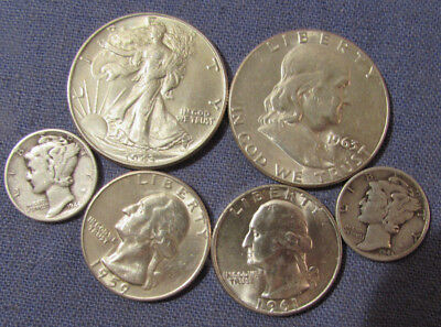Lot 6 Us Silver Coins 1943 Walking Liberty Half Dollar 1963 Franklin Half Etc
