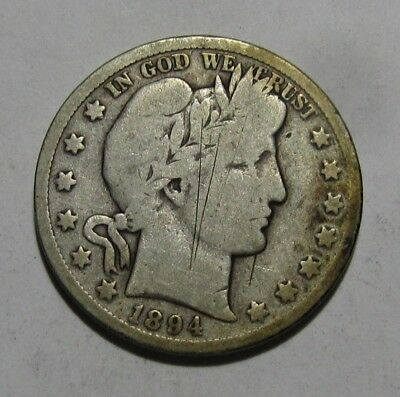 1894 S Barber Half Dollar - Very Good Condition / Scratched - 117SU