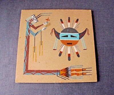 Vintage Native American Navajo Spirit Of Eagle Sand Painting Signed