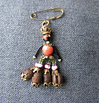 Vintage black americana plastic glass metal & real coffee beans doll dangle pin